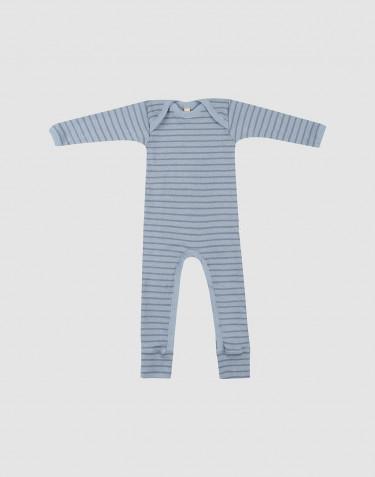 Combinaison en laine pour bébé bleu rayé
