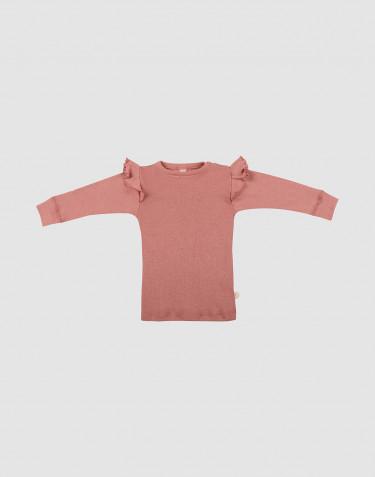 T-shirt en laine mérinos avec volants pour bébé rose