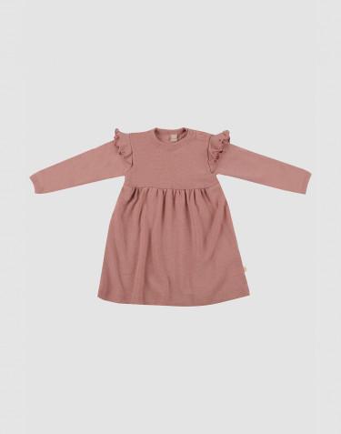 Robe en laine avec volants pour bébé rose