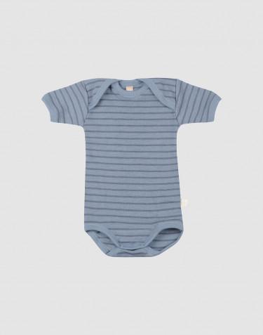 Body à manches courtes en laine pour bébé bleu rayé