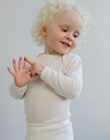 Body pour bébé à manches longues en laine mérinos bio Naturel
