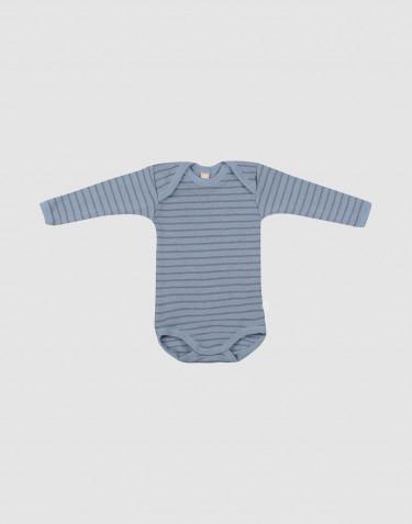 Body à manches longues en laine pour bébé bleu rayé