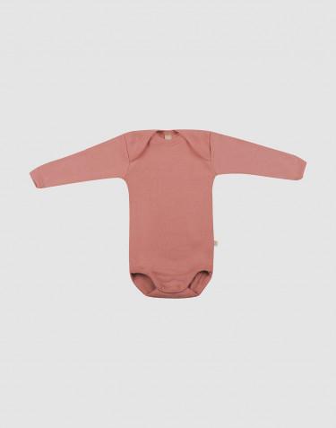 Body à manches longues en laine pour bébé rose