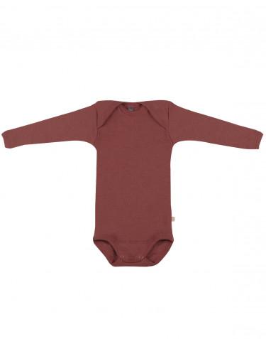 Body pour bébé à manches longues en laine mérinos bio Rouge