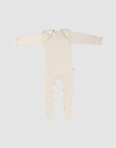 Combinaison pour bébé en laine mérinos avec pied Naturel