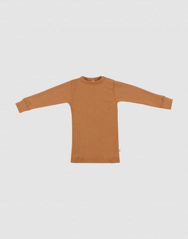 T-shirt en laine mérinos à larges côtes pour bébé caramel