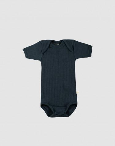 Body pour bébé à manches courtes en laine tricotée côtelée Bleu pétrole
