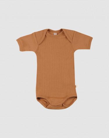 Body à manches courtes en laine côtelée caramel