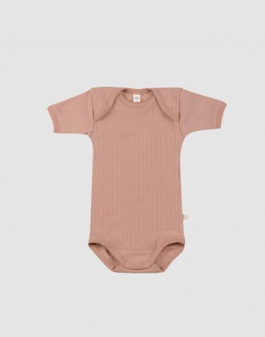 Body pour bébé à manches courtes en laine mérinos bio Rose poudré