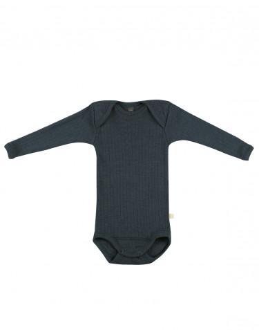 Body pour bébé en laine tricotée côtelée Bleu pétrole