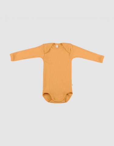 Body pour bébé en laine tricotée côtelée Jaune