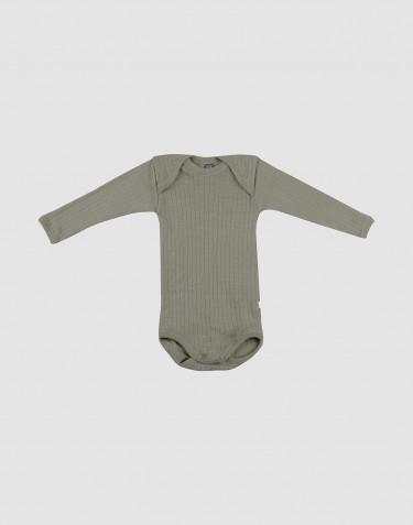 Body pour bébé en laine tricotée côtelée Vert olive