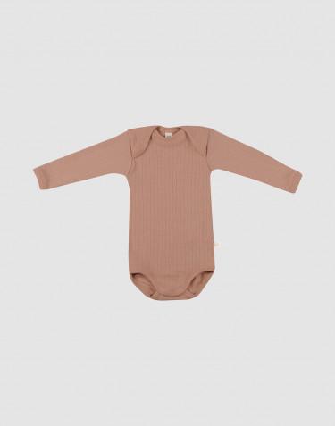Body pour bébé à manches longues en laine mérinos bio Rose poudré