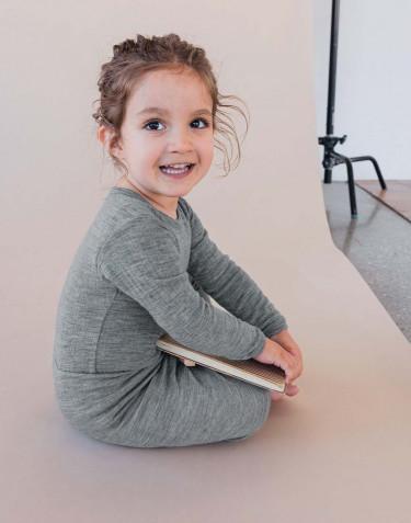 Body pour bébé en laine tricotée côtelée Mélange de gris