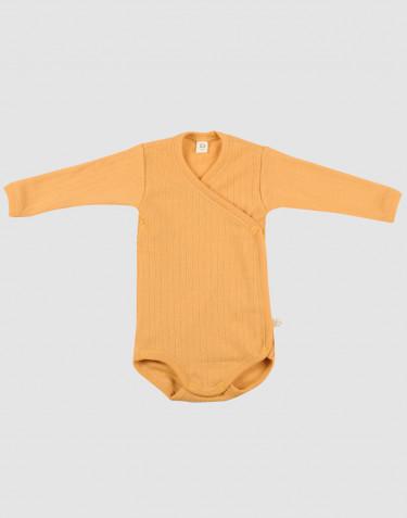 Body croisé pour bébé en laine tricotée côtelée Jaune