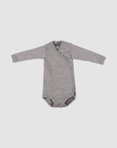 Body croisé pour bébé en laine tricotée côtelée Mélange de gris
