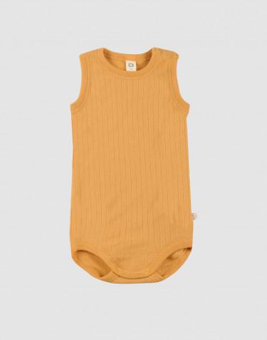 Body débardeur tricoté en laine côtelée Jaune