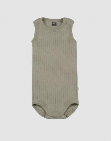Body débardeur tricoté en laine côtelée Vert olive