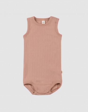 Body débardeur pour bébé en laine mérinos Rose poudré