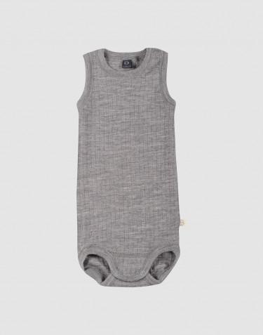 Body débardeur tricoté en laine côtelée Mélange de gris