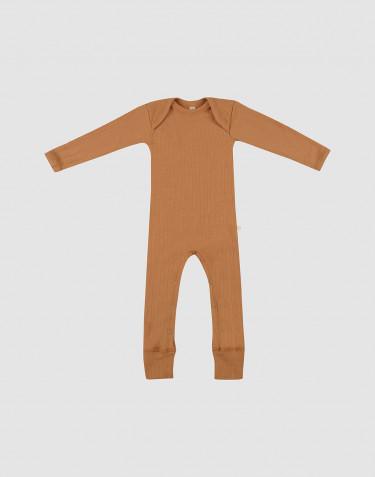 Combinaison en laine mérinos côtelée pour bébé caramel