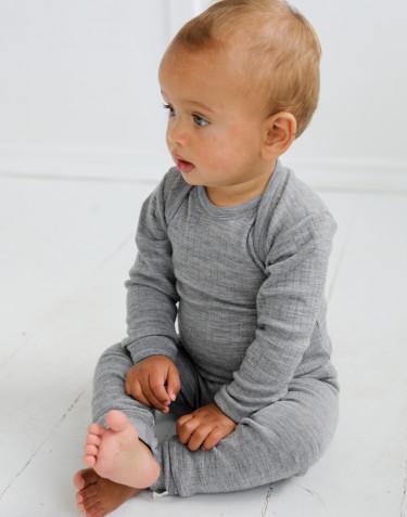 Combinaison en laine mérinos tricotée côtelée nervure large Mélange de gris