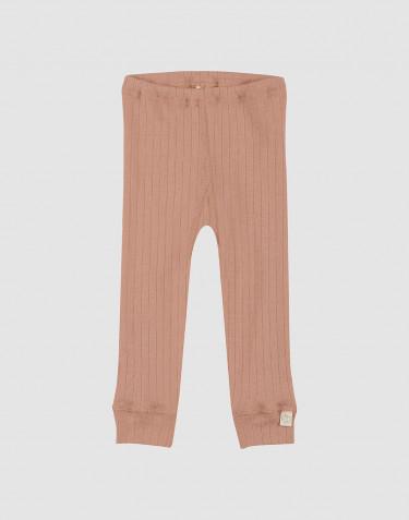 Legging pour bébé- laine mérinos tricotée côtelée Rose poudré