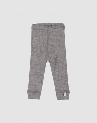 Legging pour bébé- laine mérinos tricotée côtelée Mélange de gris