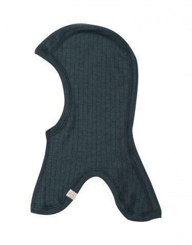 Cagoule pour enfant tricotée en laine mérinos côtelée Bleu pétrole
