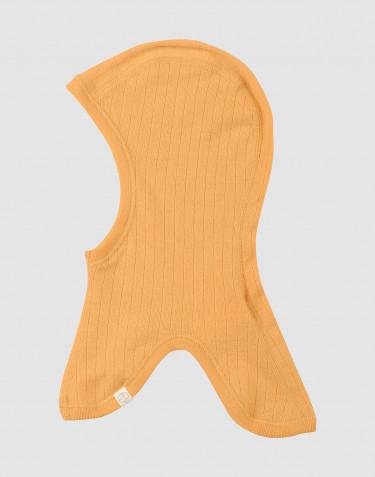 Cagoule tricotée en laine mérinos côtelée Jaune