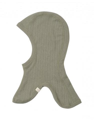 Cagoule pour bébé tricotée en laine mérinos côtelée Vert olive