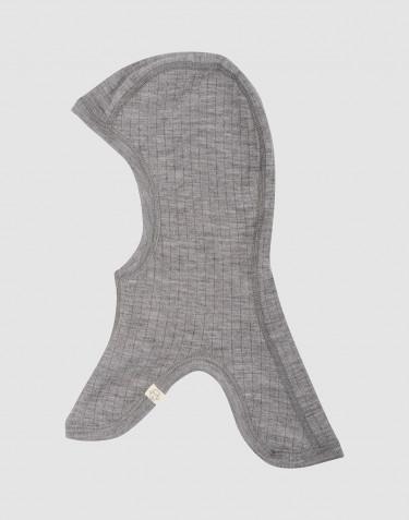 Cagoule pour enfant, en laine mérinos côtelée Mélange de gris