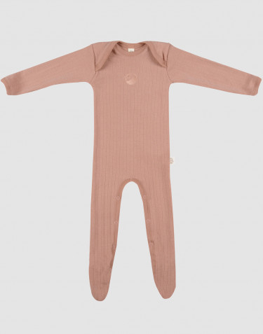 Combinaison pour bébé en laine mérinos avec pied Rose poudré