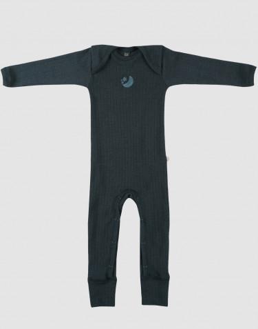 Combinaison en laine mérinos tricotée côtelée nervure large Bleu pétrole