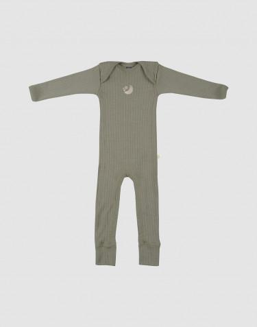 Combinaison pour bébé en laine mérinos côtelée Vert olive