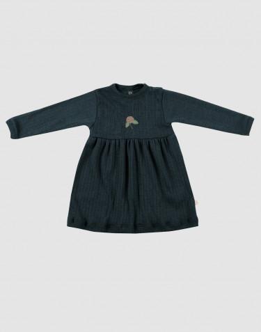 Robe pour bébé en laine mérinos tricotée côtelée Bleu pétrole