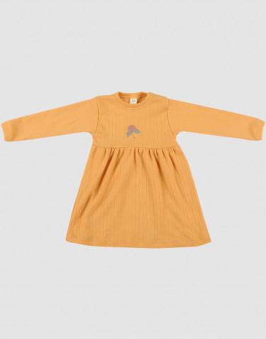 Robe pour bébé en laine mérinos tricotée côtelée Jaune