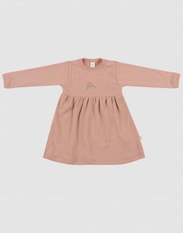 Robe pour bébé en laine mérinos tricotée côtelée Rose poudré