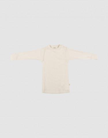 T-shirt à manches longues en laine mérinos côtelée naturel