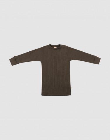 T-shirt à manches longues en laine mérinos côtelée chocolat noir