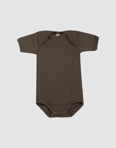 Body à manches courtes en laine côtelée chocolat noir