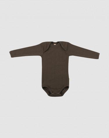 Body en laine mérinos côtelée chocolat noir