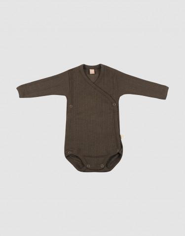 Body croisé en laine mérinos côtelée chocolat noir