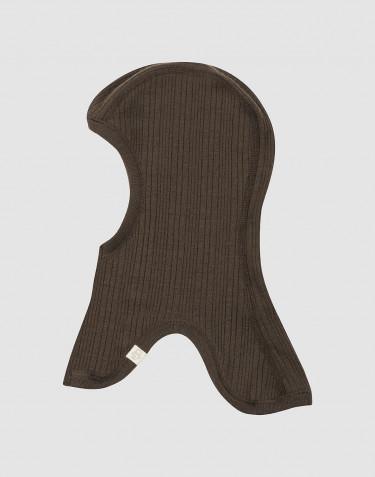 Cagoule en laine mérinos côtelée pour bébé chocolat noir
