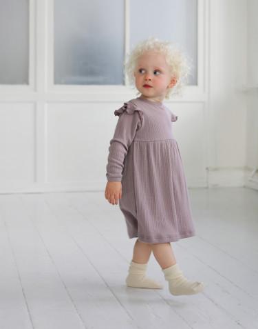 Robe à volants pour bébé en laine mérinos