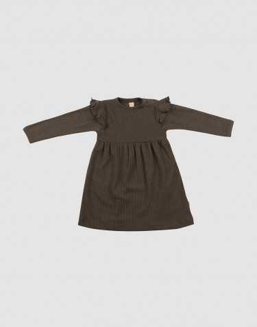 Robe en laine côtelée avec volants chocolat noir