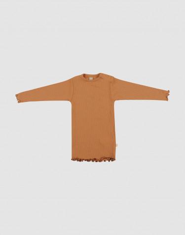 T-shirt à volants pour bébé en laine mérinos caramel