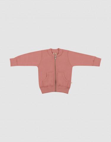 Gilet pour bébé en tissu éponge de laine rose foncé