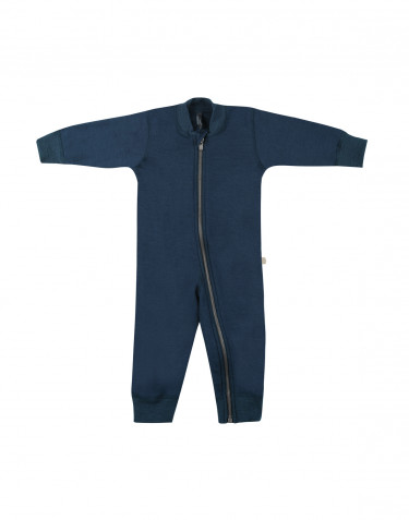 Combinaison pour bébé, en tissu éponge pure laine Bleu pétrole