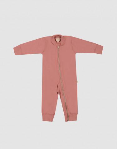 Combinaison pour bébé en tissu éponge de laine rose foncé
